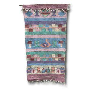 Long Vintage Woven Wall Hanging Fiber Aztec Art